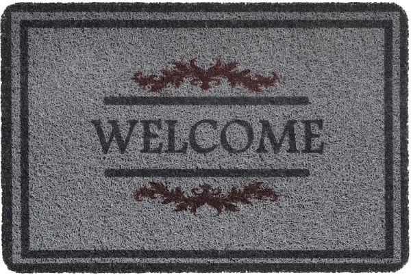 Fußmatte Türmatte Türvorleger Vinyl Outdoor grau Welcome Ornamente - 40x60 cm