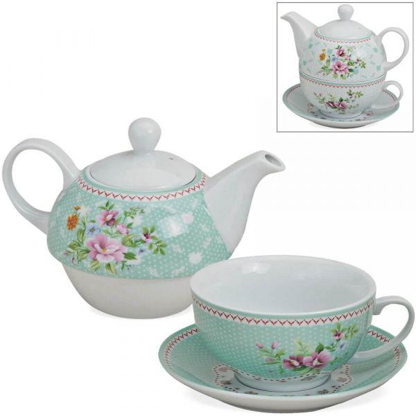 Tea For One Geschenk Box - Porzellan bunte Blumen mint Teekanne, Tasse & Teller