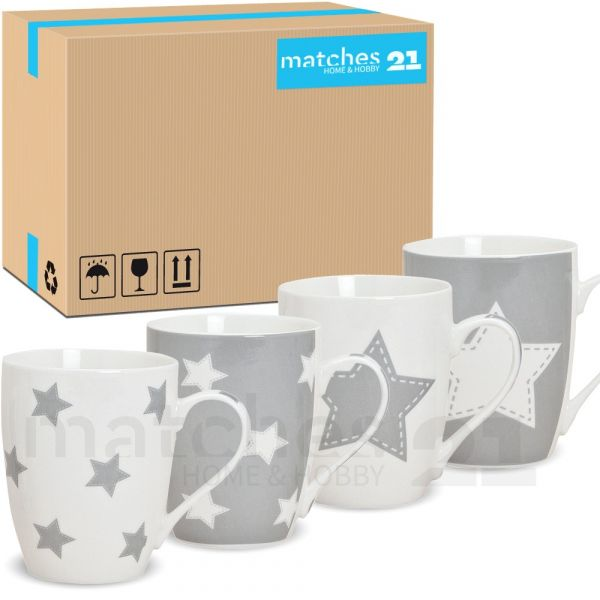 Becher Kaffeebecher Tassen Sterne grau 36 Stk. Karton Porzellan 10 cm / 300 ml