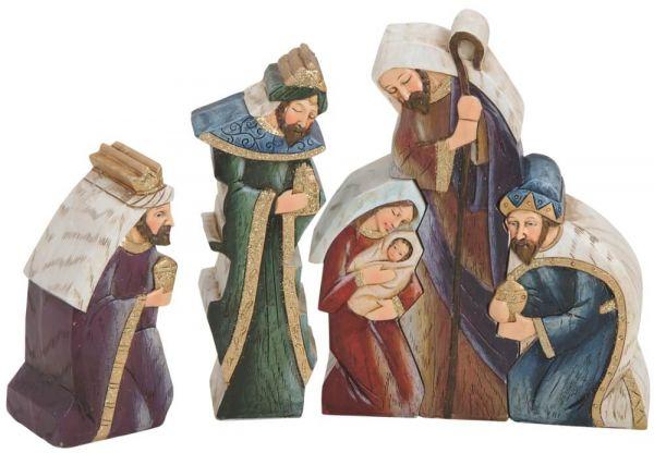 Krippenfiguren 5-tlg Weihnachtskrippen Figuren Set Jesus Josef & Maria 22x16 cm