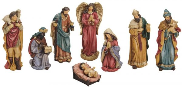 Krippenfiguren 8-tlg Weihnachtskrippen Figuren Set Jesus Josef & Maria 4-15 cm