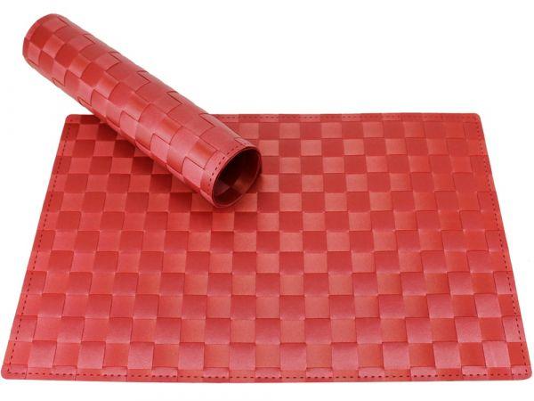 Tischset Platzset MODERN rot geflochten Kunststoff 1 Stk. 45x30 cm