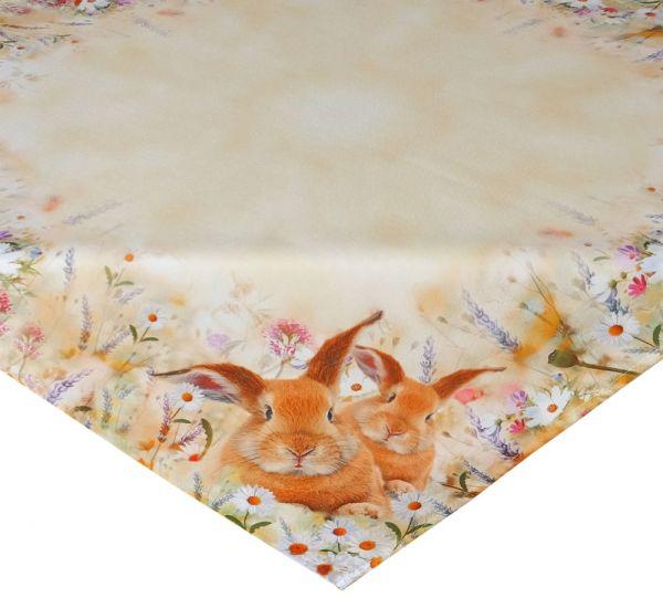 Tischdecke Mitteldecke Osterhase & Wiese Ostern Frühling gelb Druck bunt 110x110 cm