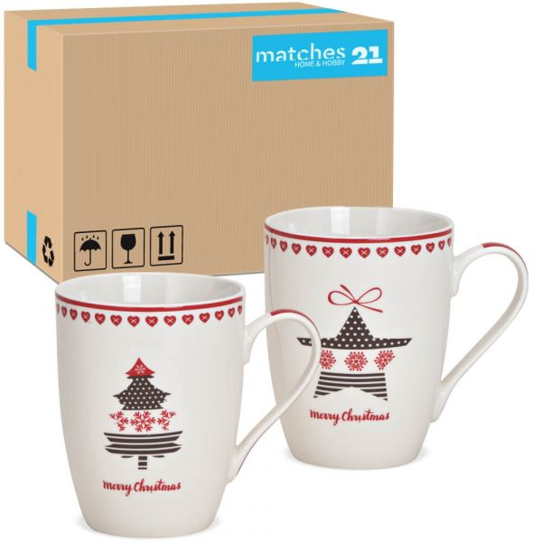 Tassen Weihnachtstassen Stern & Baum Dekor Porzellan 36 Stk sort 275 ml 10 cm
