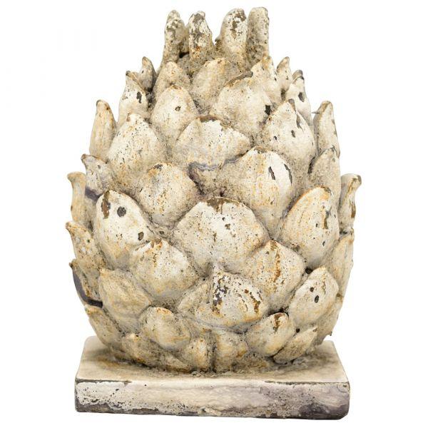 Dekorativer Zapfen Dekofigur Gartendeko Antikoptik Poly creme 1 Stk 14,5x8x20 cm
