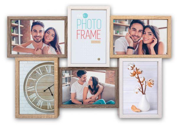 Collage 6 Fotos Galerierahmen Fotogalerie mit versetzten Rahmen Holz weiß & braun
