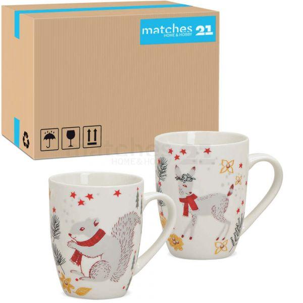 Tassen Weihnachtstassen Porzellan Weihnachten Dekor Tiere 36 Stk je 300 ml