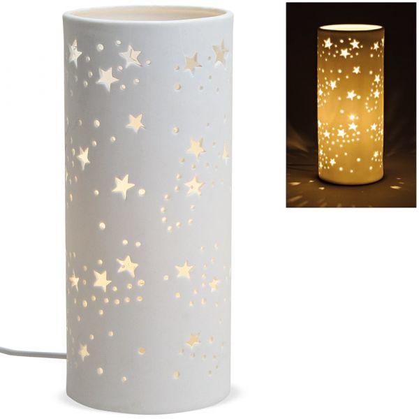 Tischlampe Nachttischlampe Leuchte Sterne 230 V Keramik weiß 1 Stk Ø 12x28 cm