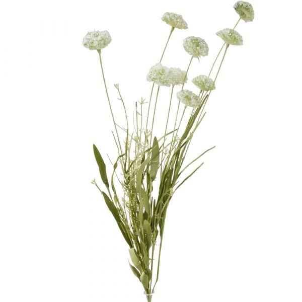 Wiesenblumen Strauß Blumenstrauß Kunstblumen Büschel - 1 Stk - 60 cm - creme
