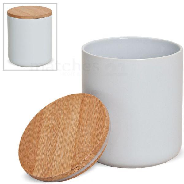 Keramik Vorratsdose mit Holzdeckel vielseitig verwendbar 12x10 cm / ca. 550 ml