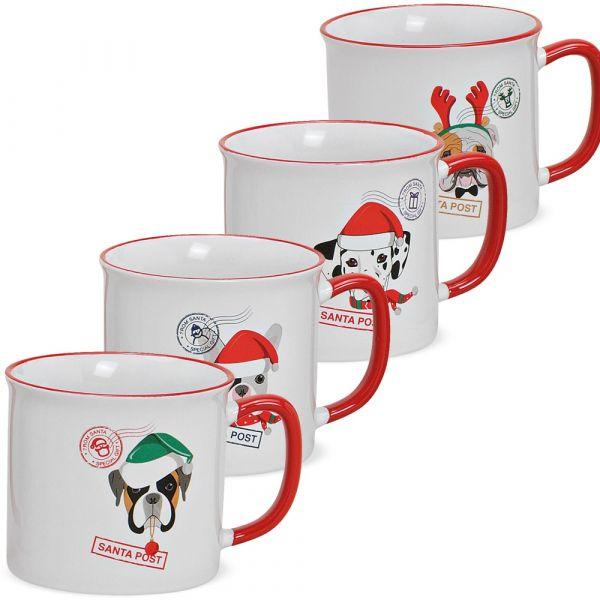 Tassen Kaffeebecher Weihnachten Hunde Santa Post Porzellan 4er Set sort 450 ml