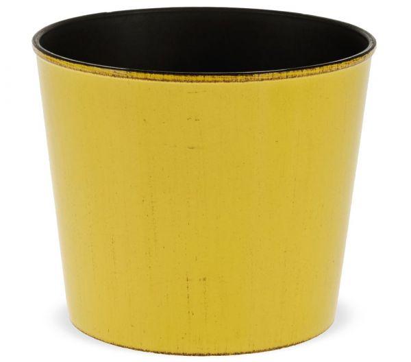 Übertöpfe Pflanztöpfe Blumentöpfe Kunststoff gelb glänzend einfarbig - 2 Größen