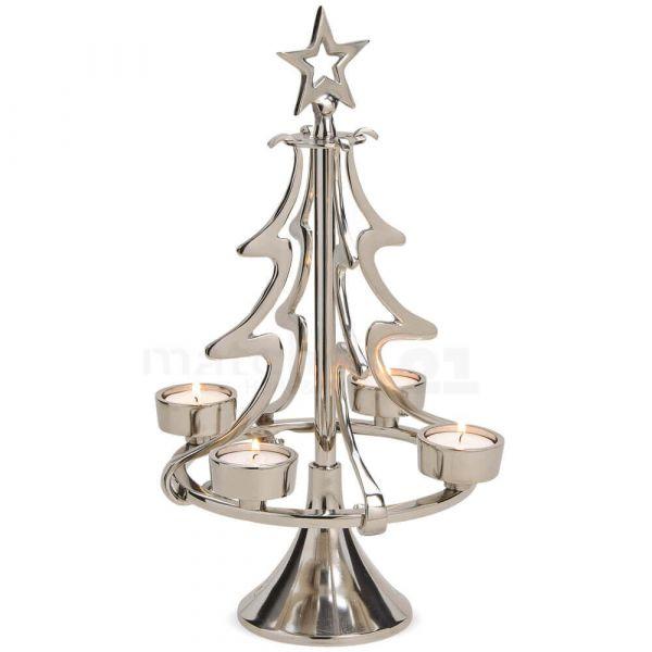 Weihnachtsbaum Tannenbaum Kerzenständer für 4 Teelichter Alu silber glanz Ø 20 cm