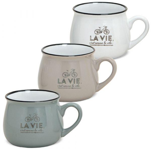 Tasse Becher Kaffeebecher Retro Keramik weiß taupe grau **B-Ware** 1 Stk 7,5 cm