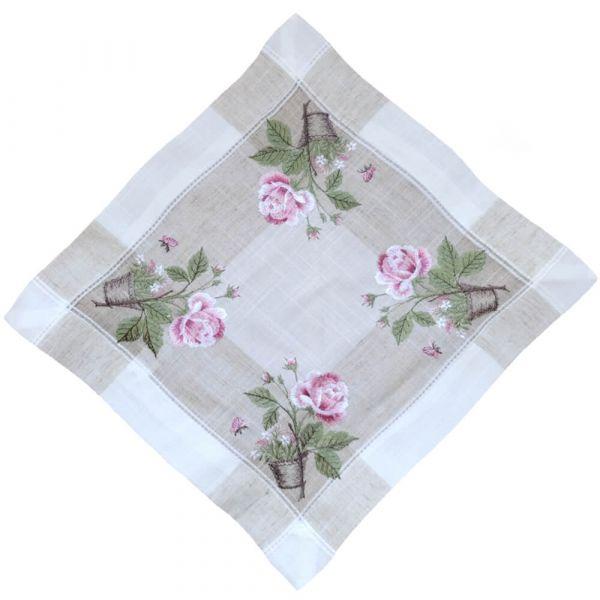 Tischdecke Tischwäsche Rosen rosa mediterran Leinenoptik beige 35x35 cm
