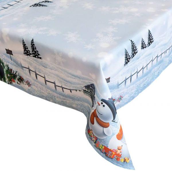 Tischdecke Tischtuch Weihnachten Schneemänner Foto Druck weiß bunt 110x160 cm