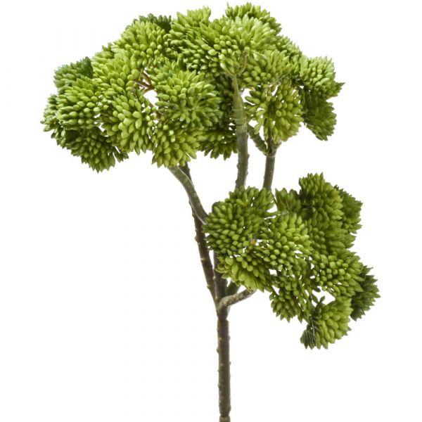 Fetthenne Kunstblume Zweig Kunstpflanze Dekopflanze 1 Stk - 30 cm - grün