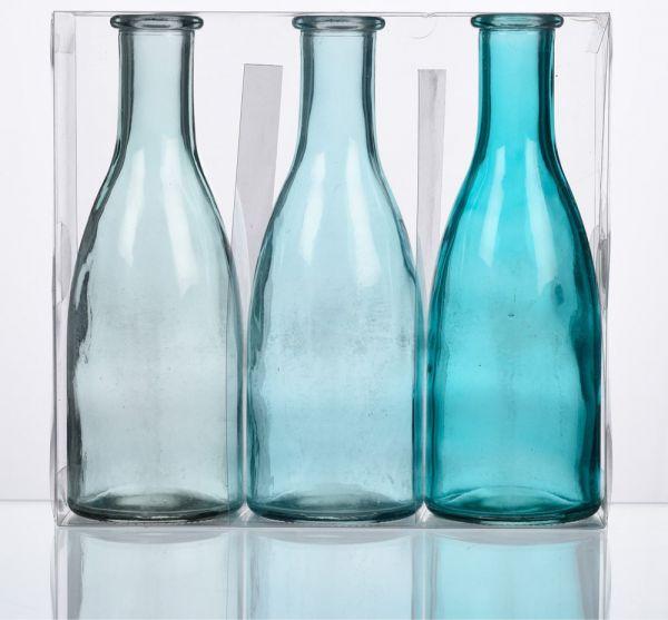 Glasflaschen 3er Set farbig Glas Dekoflaschen 18,5 cm Blautöne