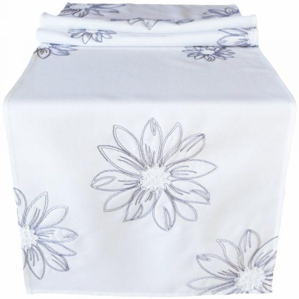 Tischläufer Tischwäsche Mitteldecke große Blumen gestickt weiß / grau 40x140 cm