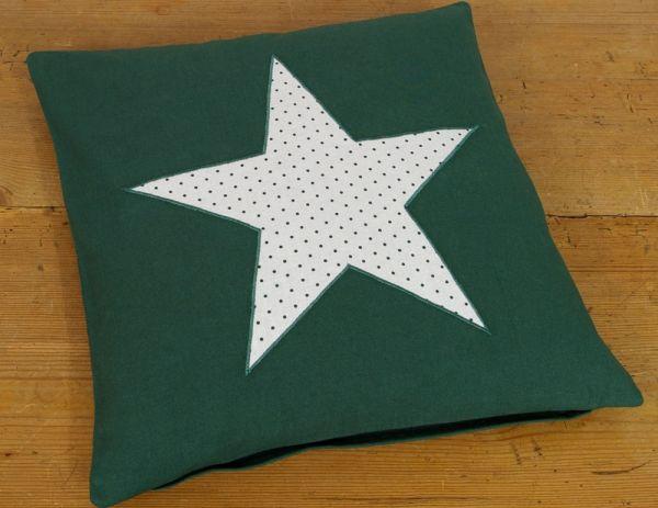 Kissenhülle Kissenbezug Landhaus Premium LILLI uni grün Stern 40x40