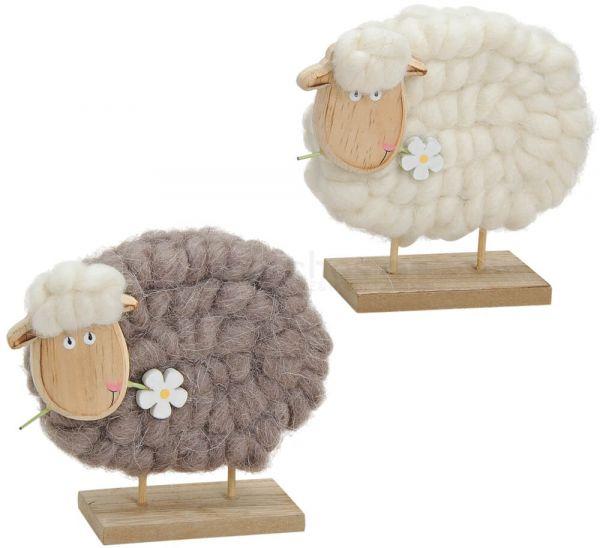 Schaf mit Blume Osterdeko Holz & Wolle Dekofigur beige / braun 2er Set 14 cm