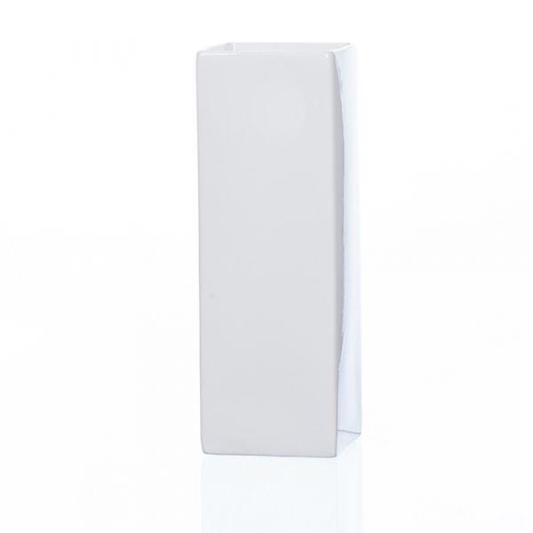 Hohe Porzellan Vase Dekovase Blumenvase Säule rechteckig weiß 6,5x6,5x18 cm