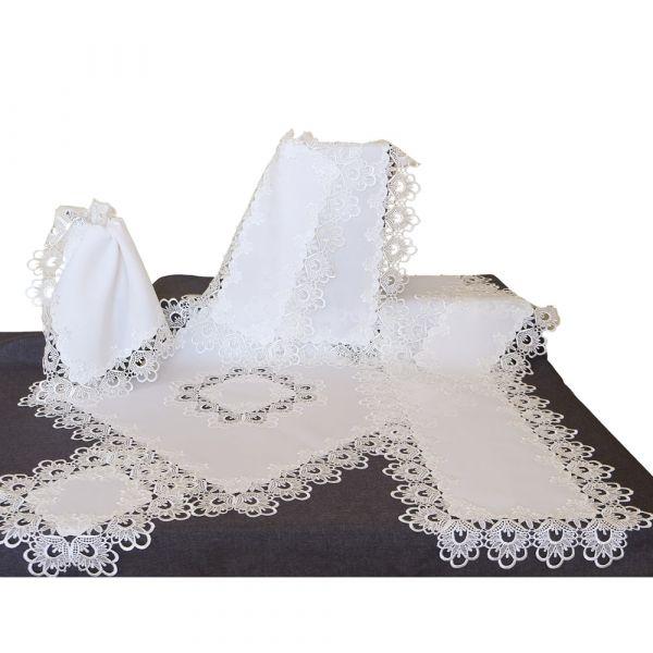 Tischdecke Tischtuch Stickerei Spitze wollweiß Tischwäsche Ø 170 cm 1 Stk