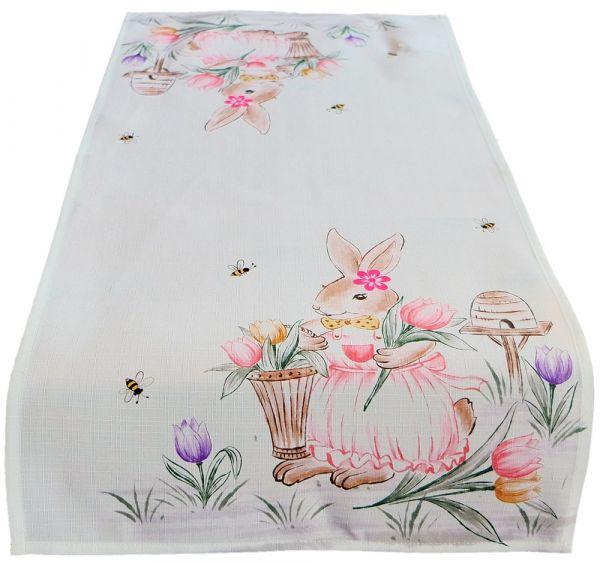 Tischläufer Mitteldecke Osterhase Mädchen Ostern Frühling weiß Druck bunt 40x90 cm