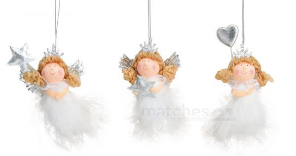 Liebliche Engeldekoration Engelfiguren aus Textil und Federn 3er Set 9cm