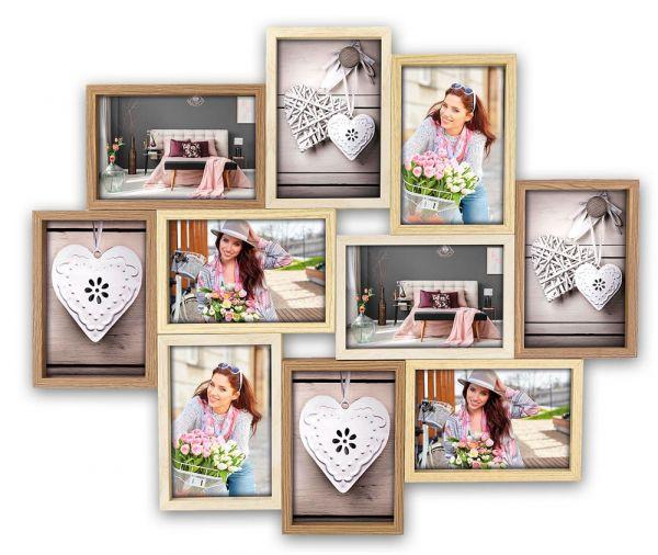 Collage Multirahmen 10 Fotos Rahmen Tiefenwirkung Holz Naturholz braun 2 Formate