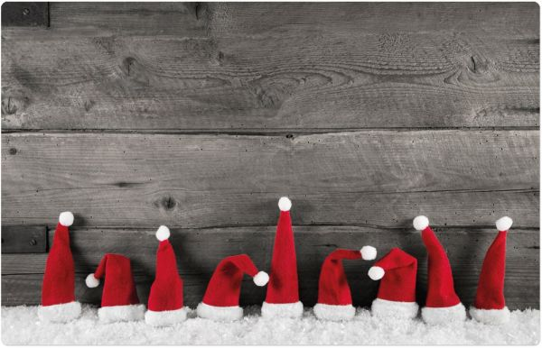 Tischset Platzset Weihnachten Weihnachtsmützen 1 Stk. abwaschbar 43,5 cm