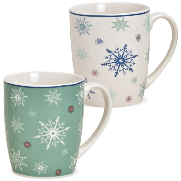 Tasse Kaffeebecher Schneeflocken Rand blau Porzellan 1 Stk **B-WARE** 10 cm