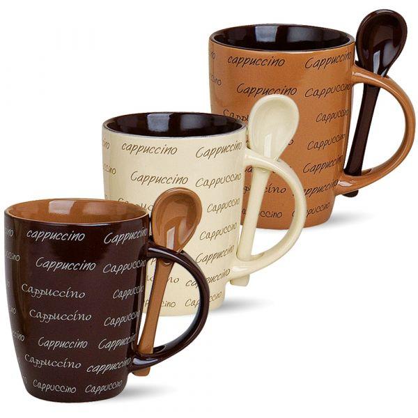 Cappuccino-Tassen Becher 3er Set Kaffeebecher 10 cm / 250 ml Keramik Löffel