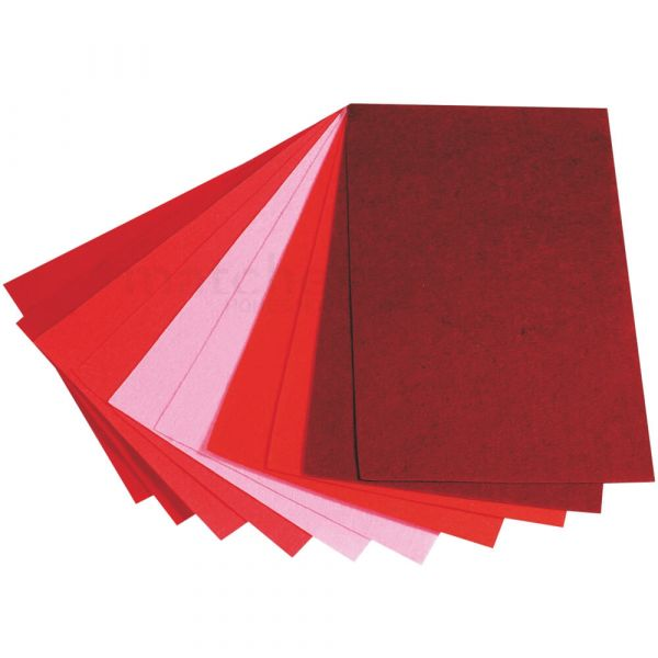 Bastel Filz 10er Set 4 Farbtöne - 5-farbig sort – 20x30 cm – 1,5 mm stark