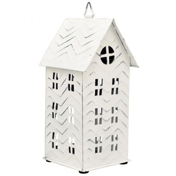 Dekoratives Haus Windlicht Dekohaus weiß Lichthaus Deko Metall weiß 1 Stk 11x22 cm