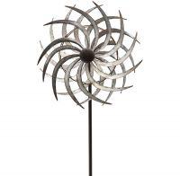 Windrad Gartendeko Metall Blüte geschraubt gegenläufig silber 1 Stk 38,5x150 cm