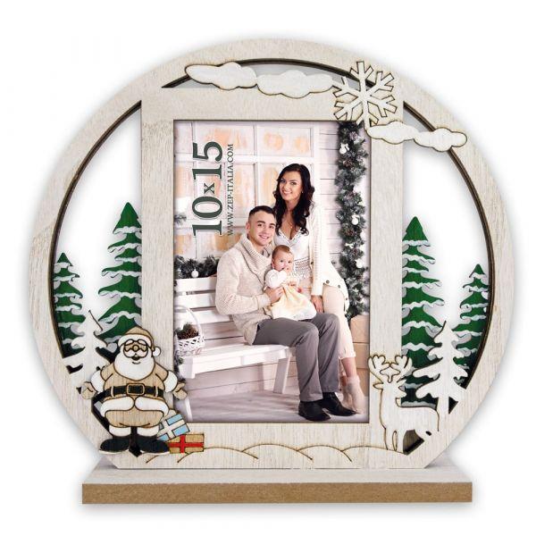 Bilderrahmen Fotorahmen Holz weiß Weihnachten HIRSCH & WEIHNACHTSMANN 22x20 cm