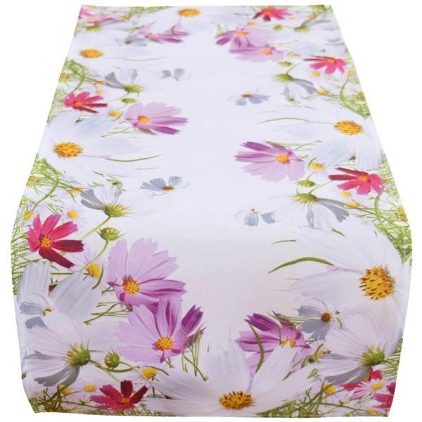 Tischläufer Mitteldecke Blumenwiese Blumen Frühling weiß Druck bunt 40x90 cm