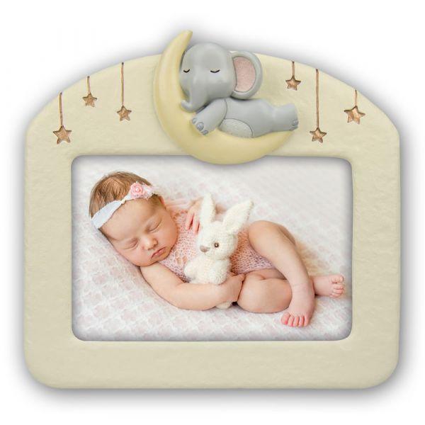Bilderrahmen Fotorahmen Baby Kind Rahmen Kunststoff creme & Elefanten Applikation