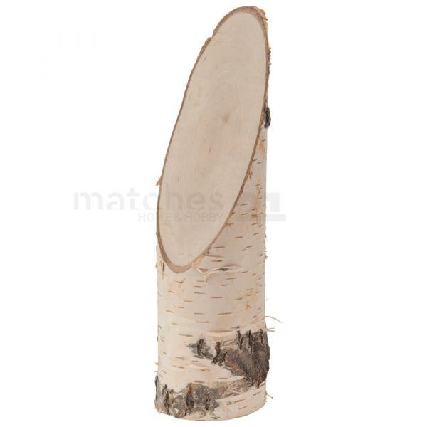 Echtholz Birkenstämmchen Holzstamm Baumstamm Holz schräger Schnitt in 3 Größen