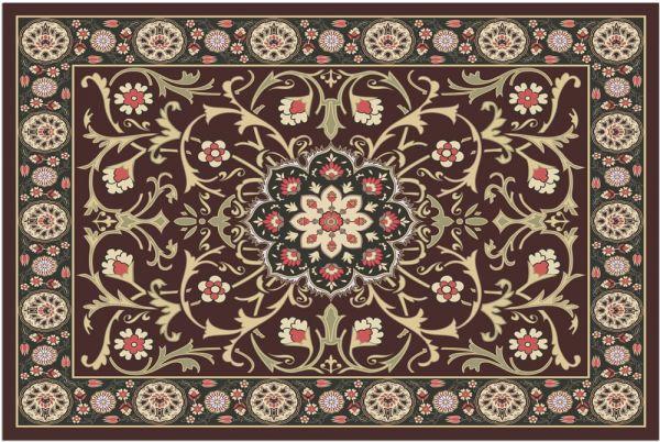 Fußmatte Fußabstreifer DECOR Blüten Perser Mandala braun beige waschbar 40x60 cm