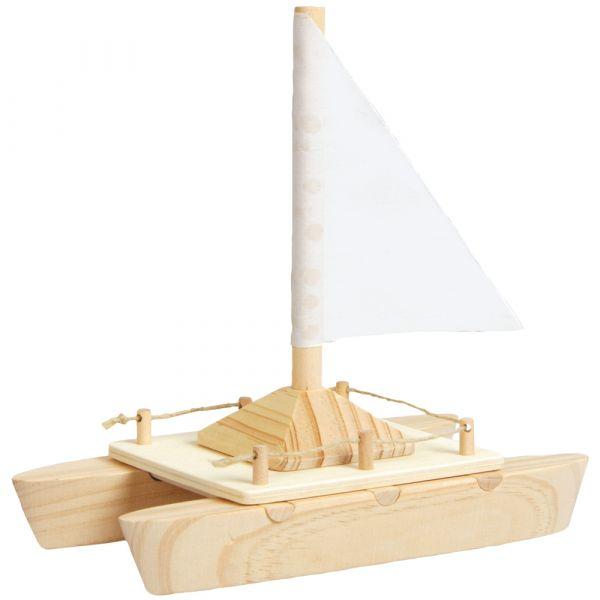 Holz Katamaran mit Segel zum Selbstgestalten Boot Bausatz f. Kinder ab 5 Jahren