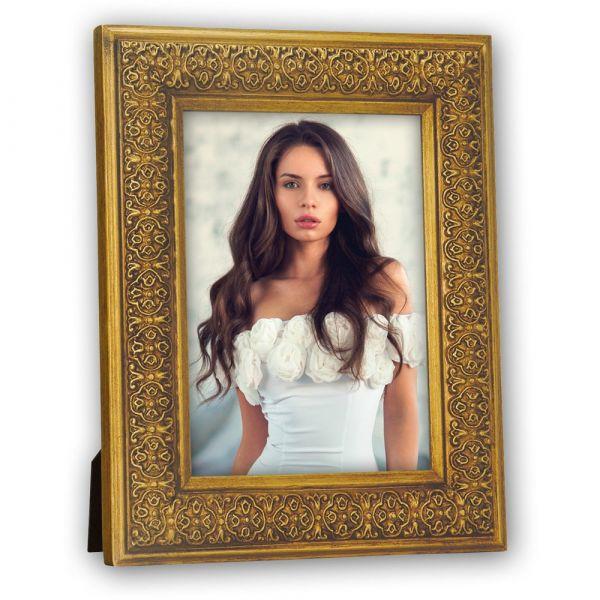 Bilderrahmen Porträtrahmen Fotorahmen Holz Ornamente & Schnörkel gold 15x20 cm