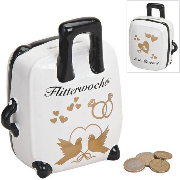 Spardose Koffer Hochzeit Hochzeitsgeschenk Geldgeschenk Sparbüchse Keramik 15 cm