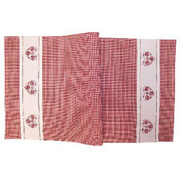 Tischdecke Mitteldecke Tischwäsche Landhaus rot weiß kariert & Herz 40x85 cm