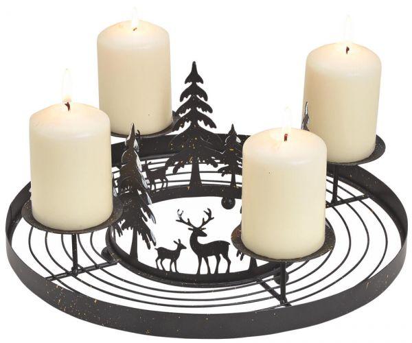 Adventskranz Metall schwarz zum Schmücken mit Wald & Rentieren & 4 Kerzenhalter