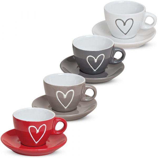 Espressotassen mit Unterteller Herzdekor 4er Set Keramik Je 5 cm / 50 ml