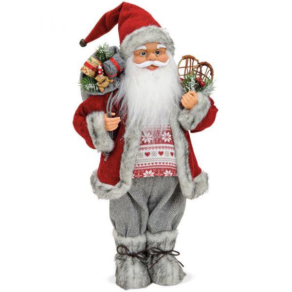 Weihnachtsmann Santa Sack Schneeschuhe grau Standfigur Weihnachten 1 Stk 18x30 cm