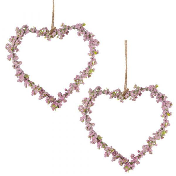 Blumenherzen Schleierkraut Herzen 2 Stk. Dekokränze rosa Ø 11 cm
