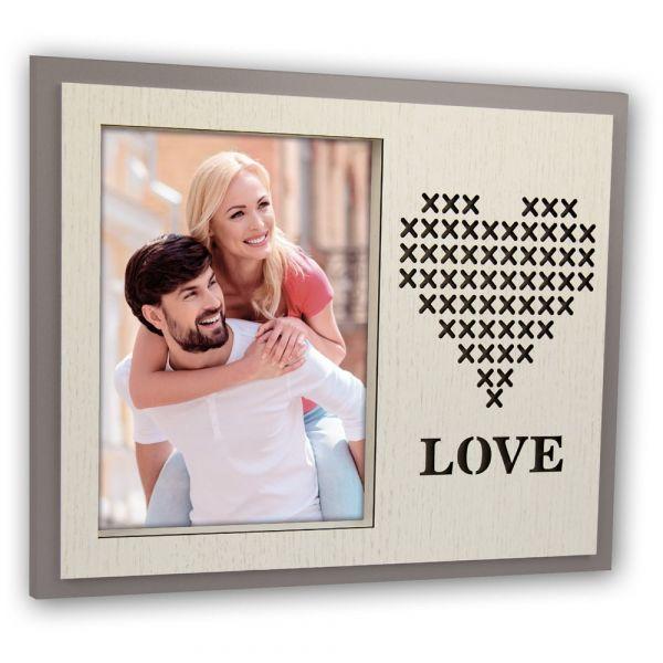 Bilderrahmen Foto Rahmen für Bilder Holz braun & natur ausgestanztes Herz & Love